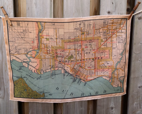 North Vancouver Vintage Map Tea Towel