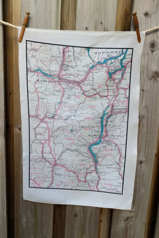 Okanagan Vintage Map Tea Towel