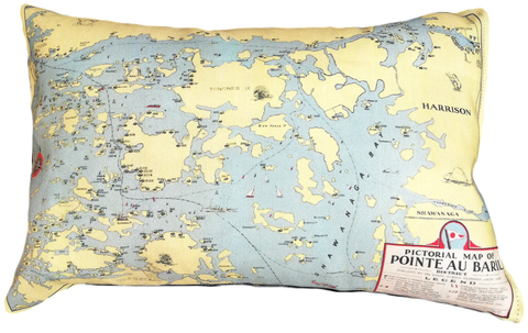 Pointe Au Baril Vintage Map Pillow