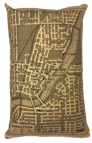 Saskatoon Vintage Map Pillow