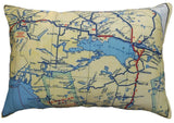 French River/Nipissing Area Vintage Map Pillow