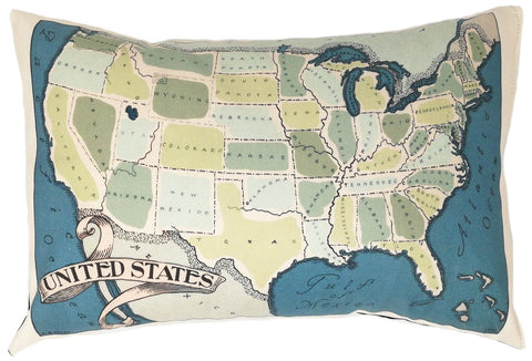 USA Vintage Map Pillow