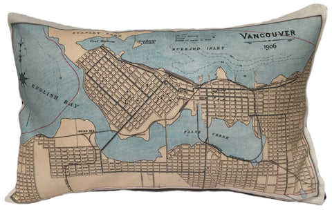 Vancouver Vintage Map Pillow