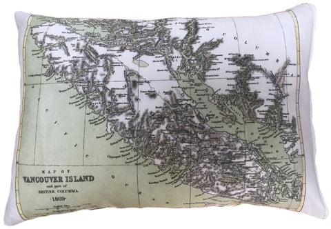 Vancouver Island Vintage Map Pillow