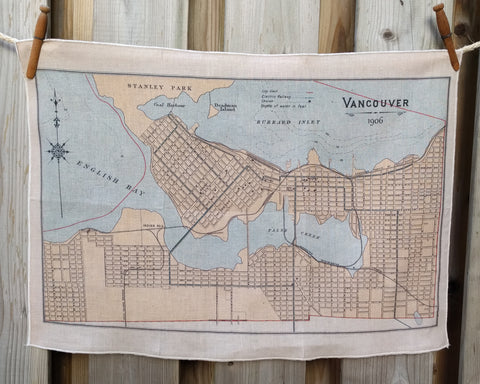 Vancouver Vintage Map Tea Towel