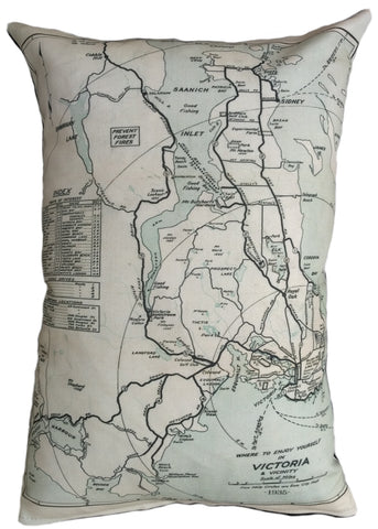 Victoria Vintage Map Pillow