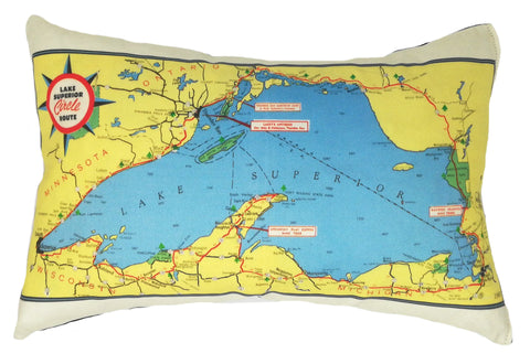 Lake Superior Vintage Map Pillow