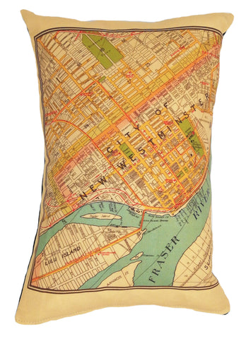 New Westminster Vintage Map Pillow