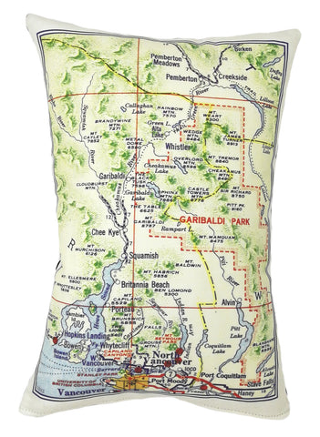 Sea to Sky Country Vintage Map Pillow