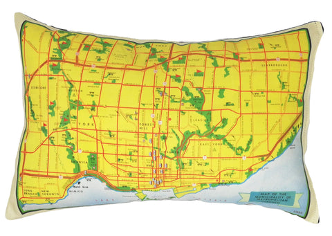 Municipal Toronto Vintage Map Pillow