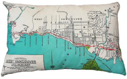 West Vancouver Vintage Map Pillow