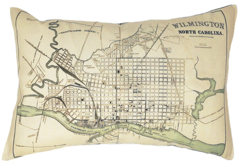 Wilmington NC Vintage Map Pillow