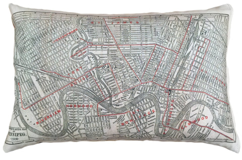Winnipeg Vintage Map Pillow