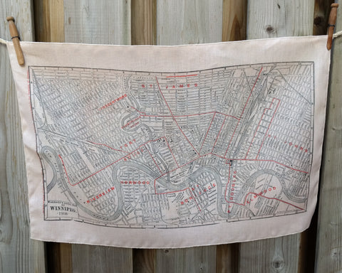 Winnipeg Vintage Map Tea Towel
