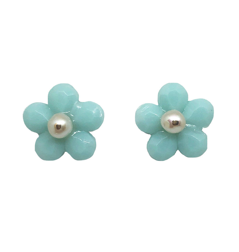 Bloom studs in soft blue