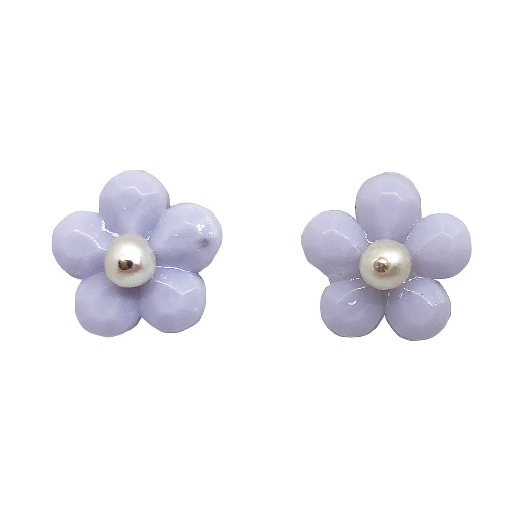 Bloom studs in soft lilac