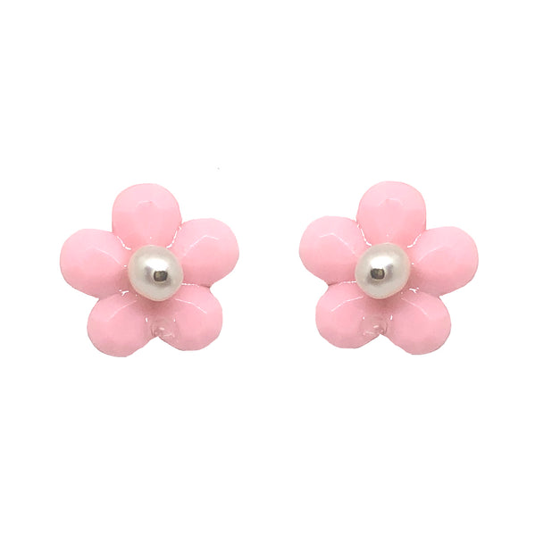 Bloom studs in soft pink