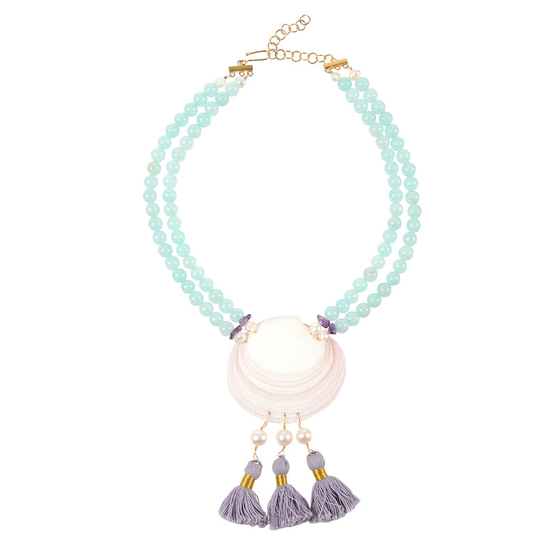 Cape Porpoise clam shell necklace with tassels in blue lilac