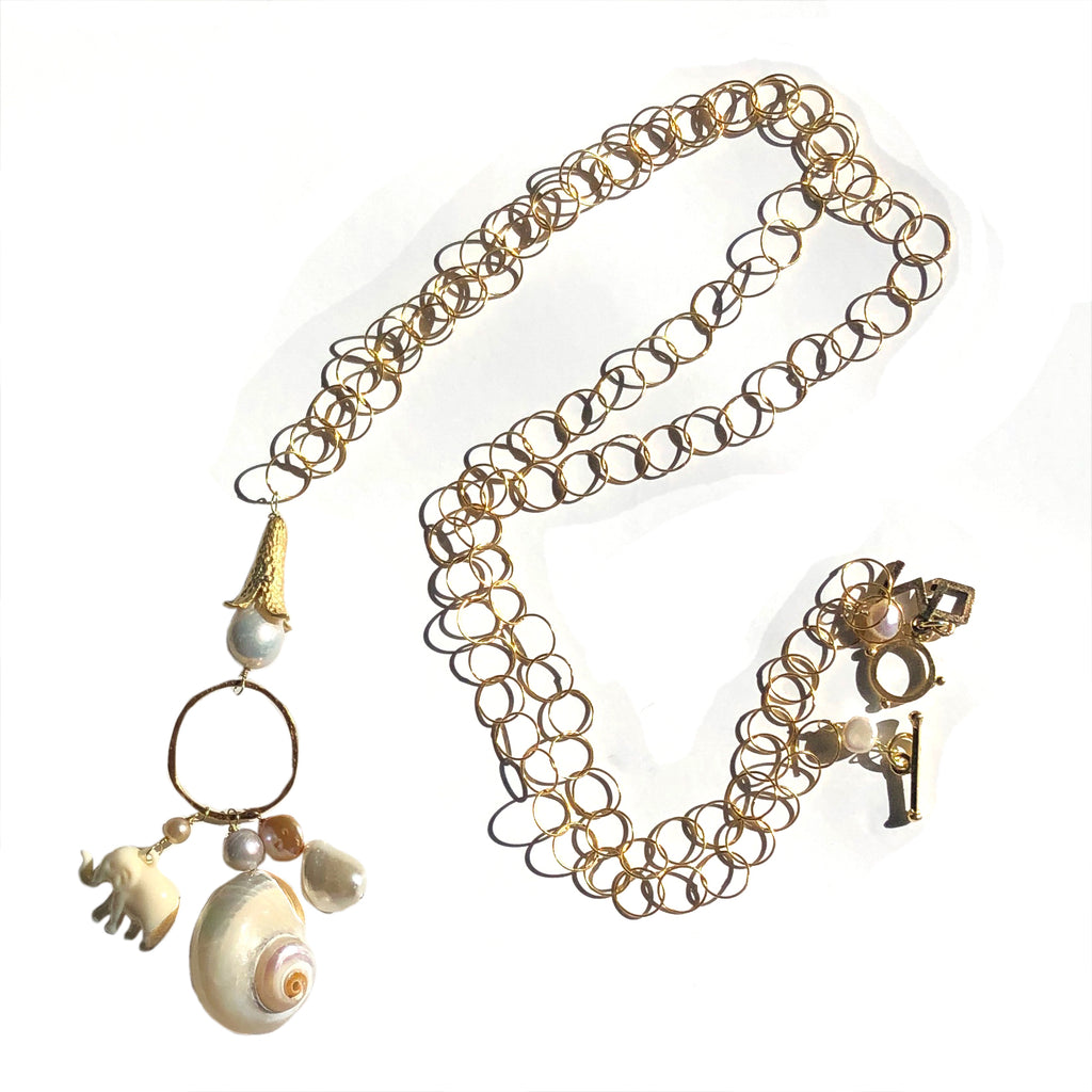 Elephant long baubles chain in white