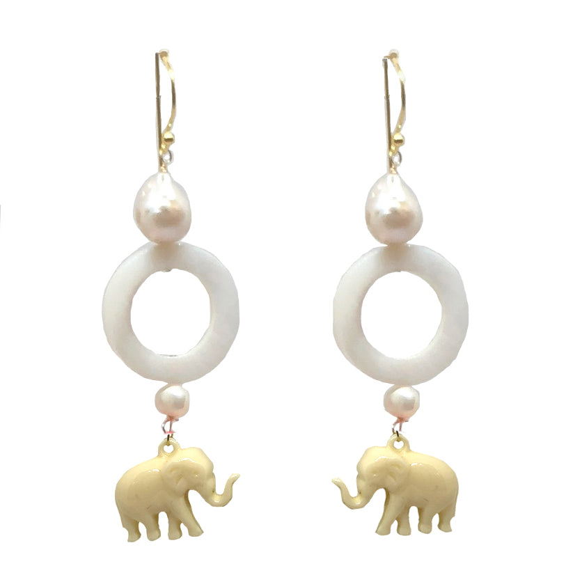 Elephant Circle dangles in white