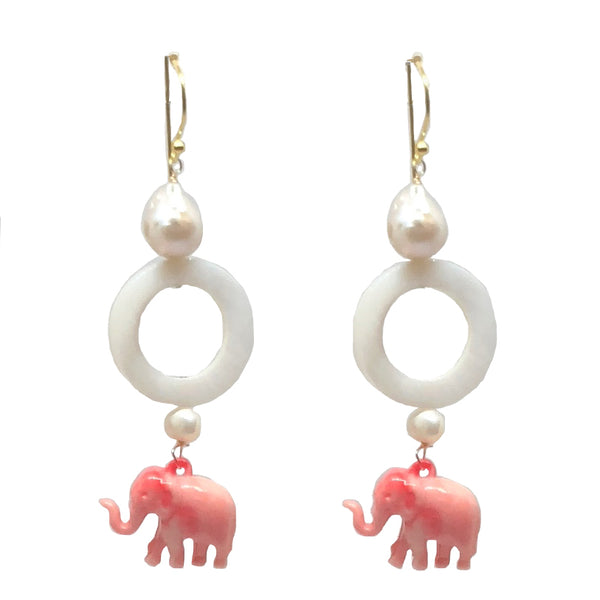 Elephant Circle dangles in pink