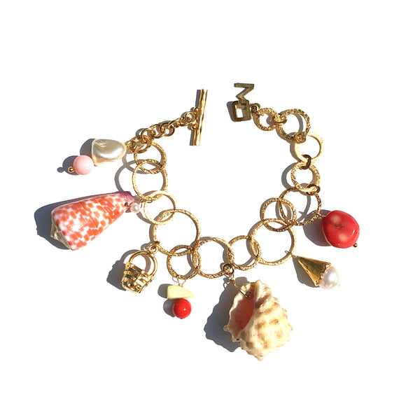 Charm bracelet in pink orange sunset