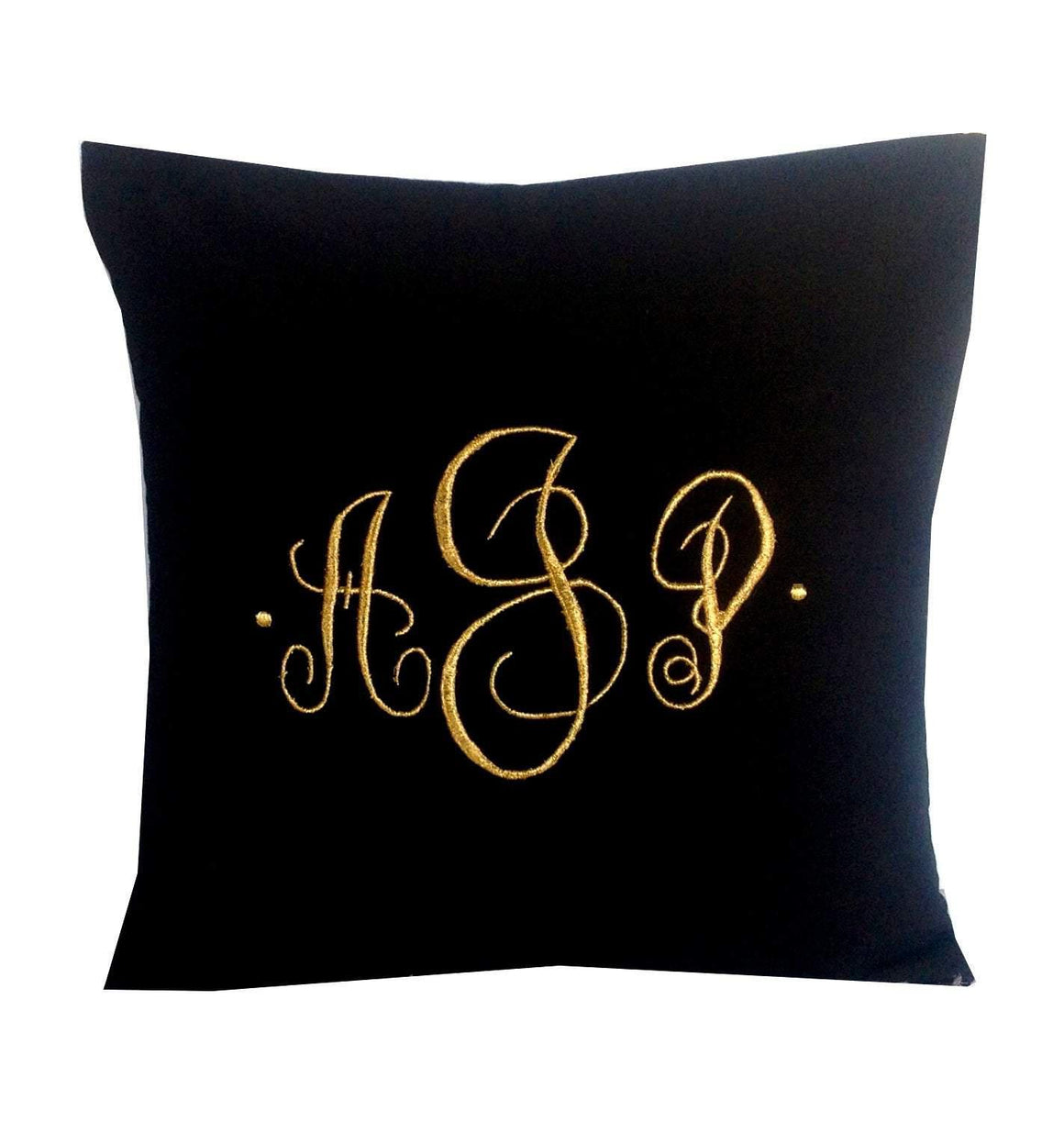 Monogram Pillows, Gold Embroidered Metallic Pillows, Gifts, Gold Pillows, Metallic Monogram Pillow Covers - Snazzy Living