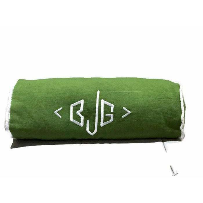 Personalized Monogram pillow cover, Neck Roll Green Pillows, Neck Support Yoga bolster Cover, Personalized Monogram Bolster Home Decor