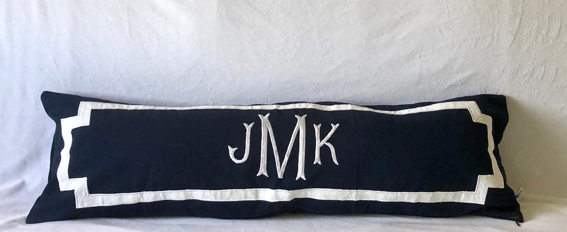 Long Navy Monogram Pillows, Unique Headboard Monogrammed Throw Pillow Covers,  Monogram Bedding