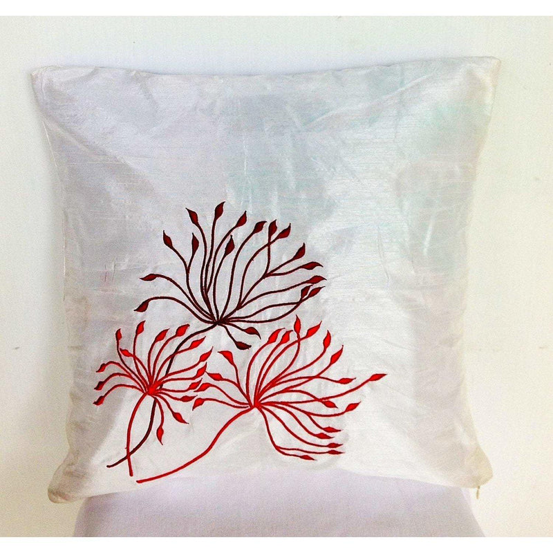 Embroidered Flower White Pillows