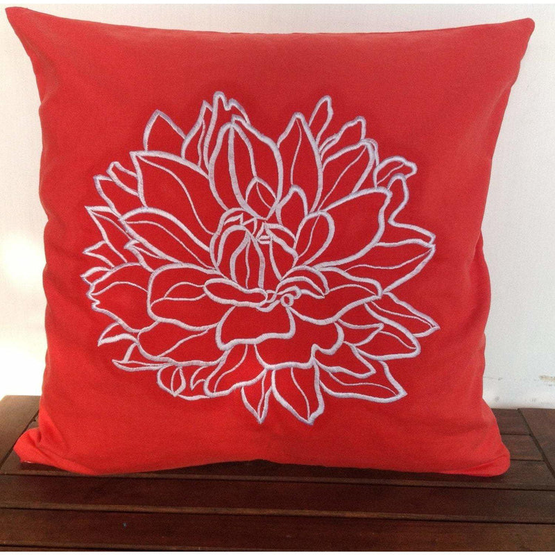 Red Flower Embroidered Throw pillows