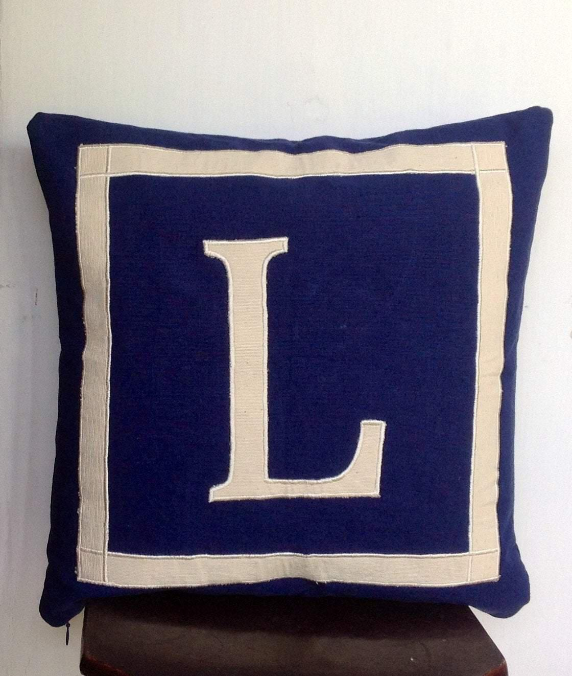 "30% OFF unique gift ideas for women, Monogram Pillows 18"" x18""x16x16, - Navy blue cushion cover-Alphabet Navy monogram cushion cov - Snazzy Living"