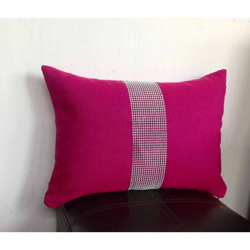Pink Lumbar Pillows, Fuchsia Bedrom Pillows, Throw pillows 12x16,