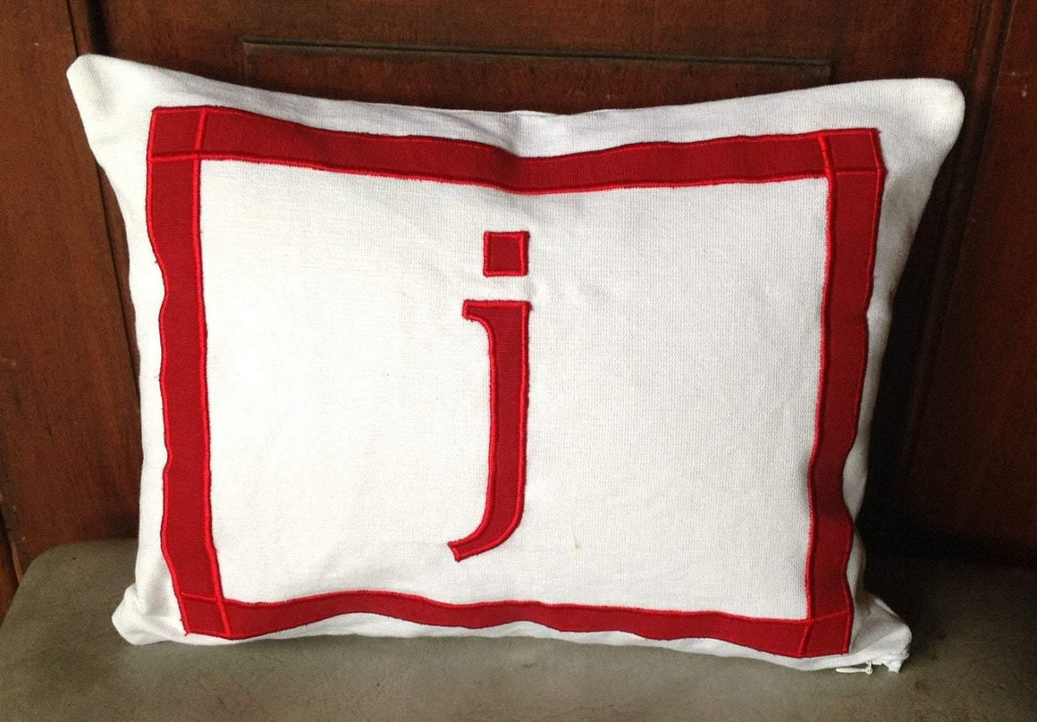 Lumbar Monogram White Pillows -Decorative Appliqued Letter Pillow Cover, 12x16