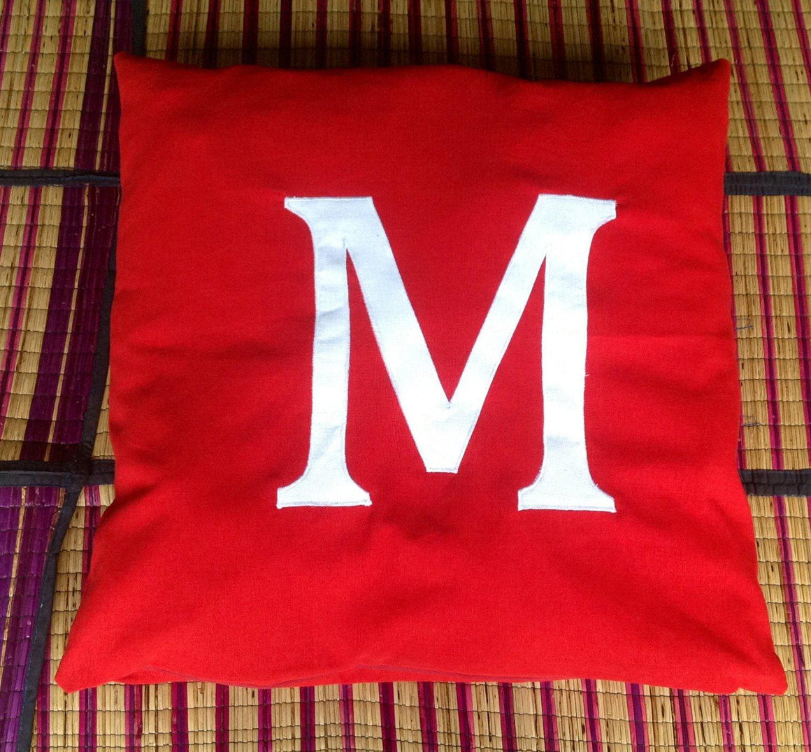 Red and white monogram pillow, initial pillows , Red Decorative Cushion Cover, Personalized Red Pillow CUSTOM MADE