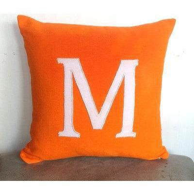 Monogrammed Orange Pillow Cover, Alphabet Sofa Pillow, Personalized Orange Pillow