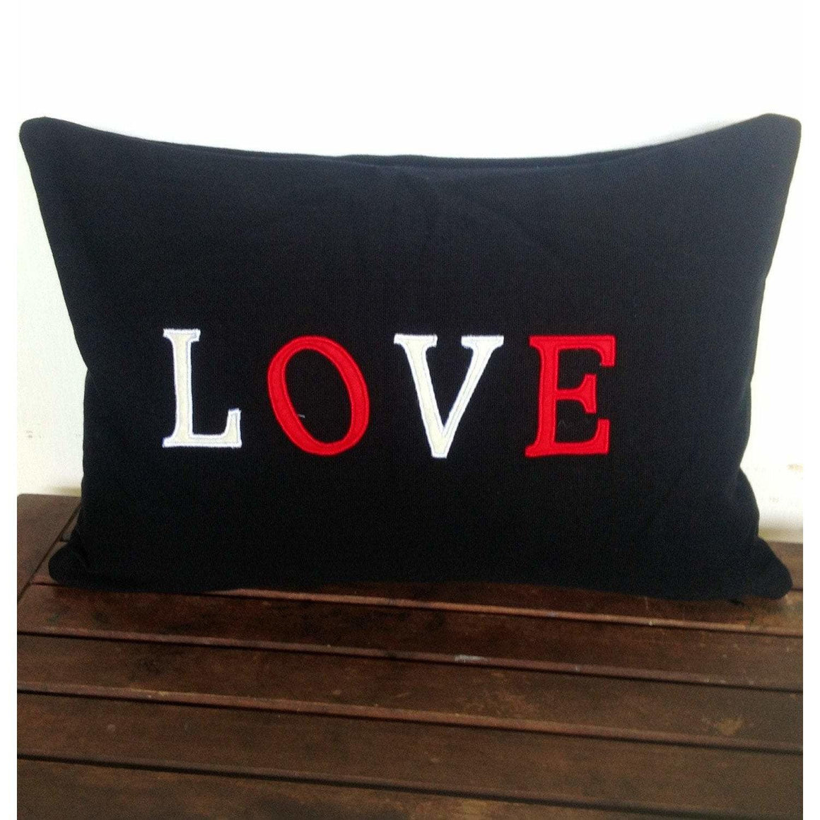 50% OFF Sale Shabby Chic Pillows, Valentine Pillows, Handmade Love Monogrammed Pillow Cover 12x18 inches black love pillow cover mothers day