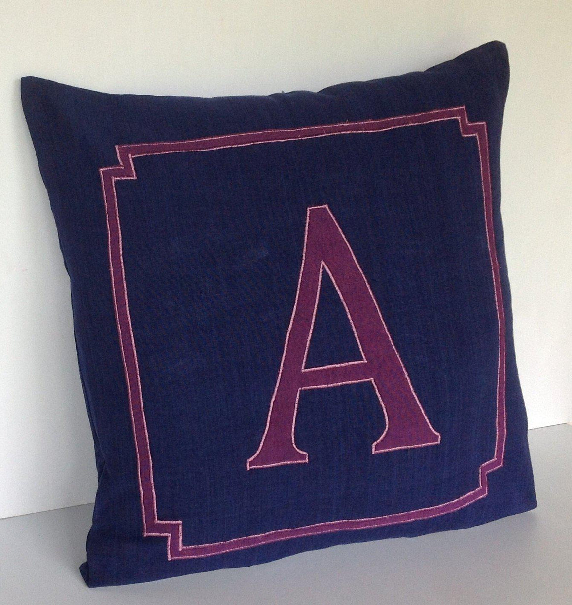 NavyBlue Euro shams, Bedroom Decor Navy,Navy Personalized Monogram Pillow, Decorativ Throw Pillows,26x26 Alphabet pillows - Snazzy Living