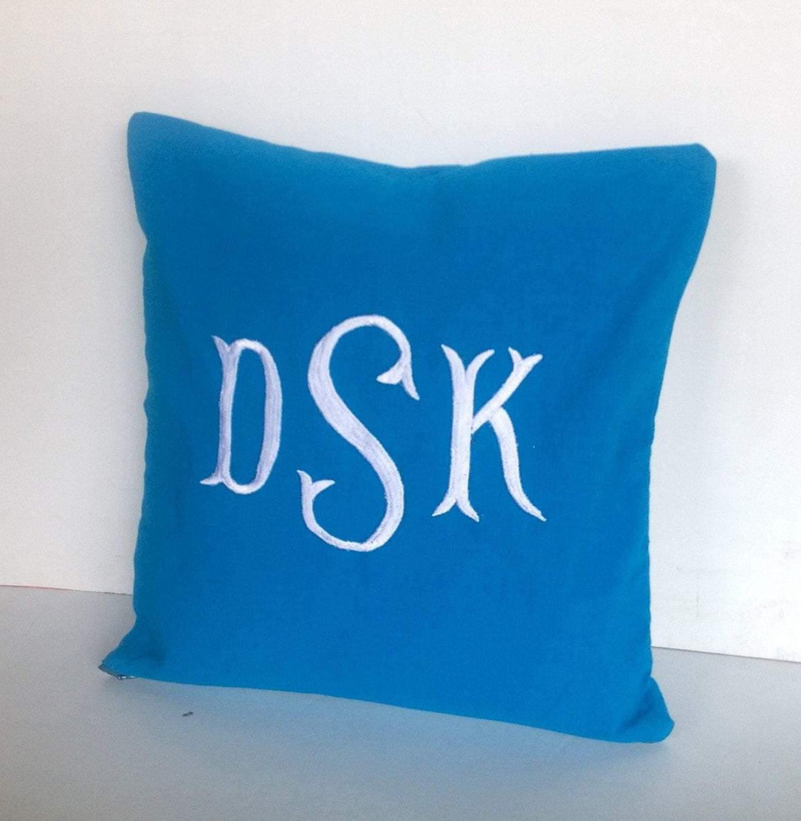 Monogram Pillow Cover Turquoise Blue Pillow Cover Housewarming Gift Decorative Monogram Pillows Dorm Decor, Hostess Gifts, - Snazzy Living