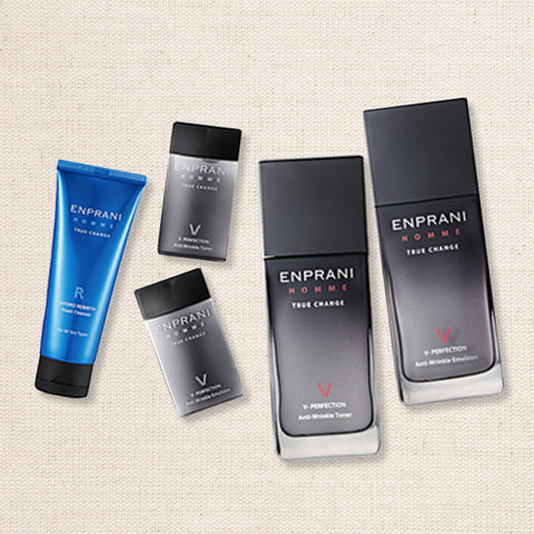 (Enprani) Homme True Change V-Perfection Anti-Wrinkle Toner & Emulsion Set / Combination