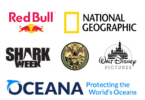 Logos for Oceana, Disney, San Francisco Fire Department, Shark Week, National Geographic, and Red Bull.