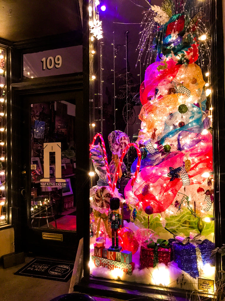 Walking Pants of Downtown Memphis, Tennessee Wins The Christmas Holiday Window  Display Contest For Retail Gift Shops