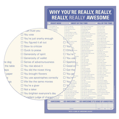 Buy Why You're Really, Really Awesome Pad from Walking Pants Curiosities, the Most un-General Gift Store in Downtown Memphis, Tennessee!