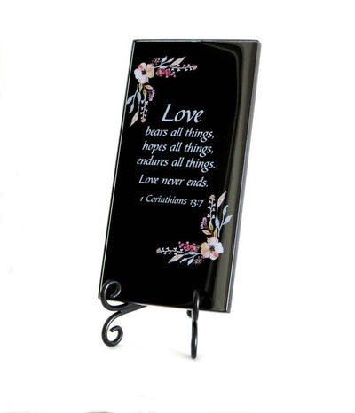 Buy Love Bears All Things Inspirational Glass Plaque from Walking Pants Curiosities, the Most un-General Gift Store in Downtown Memphis, Tennessee!