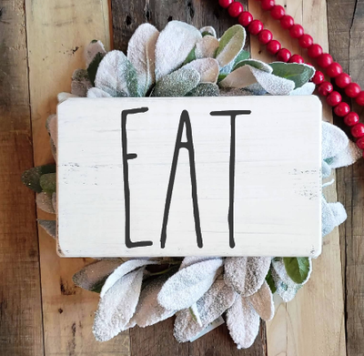 Buy EAT, a Rustic Farmhouse Kitchen Wood Sign from Walking Pants Curiosities, the Most un-General Gift Store in Downtown Memphis, Tennessee!