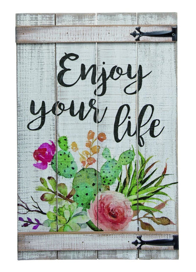 Buy Enjoy Your Life Rustic Fence Wall Decor from Walking Pants Curiosities, the Most un-General Gift Store in Downtown Memphis, Tennessee!
