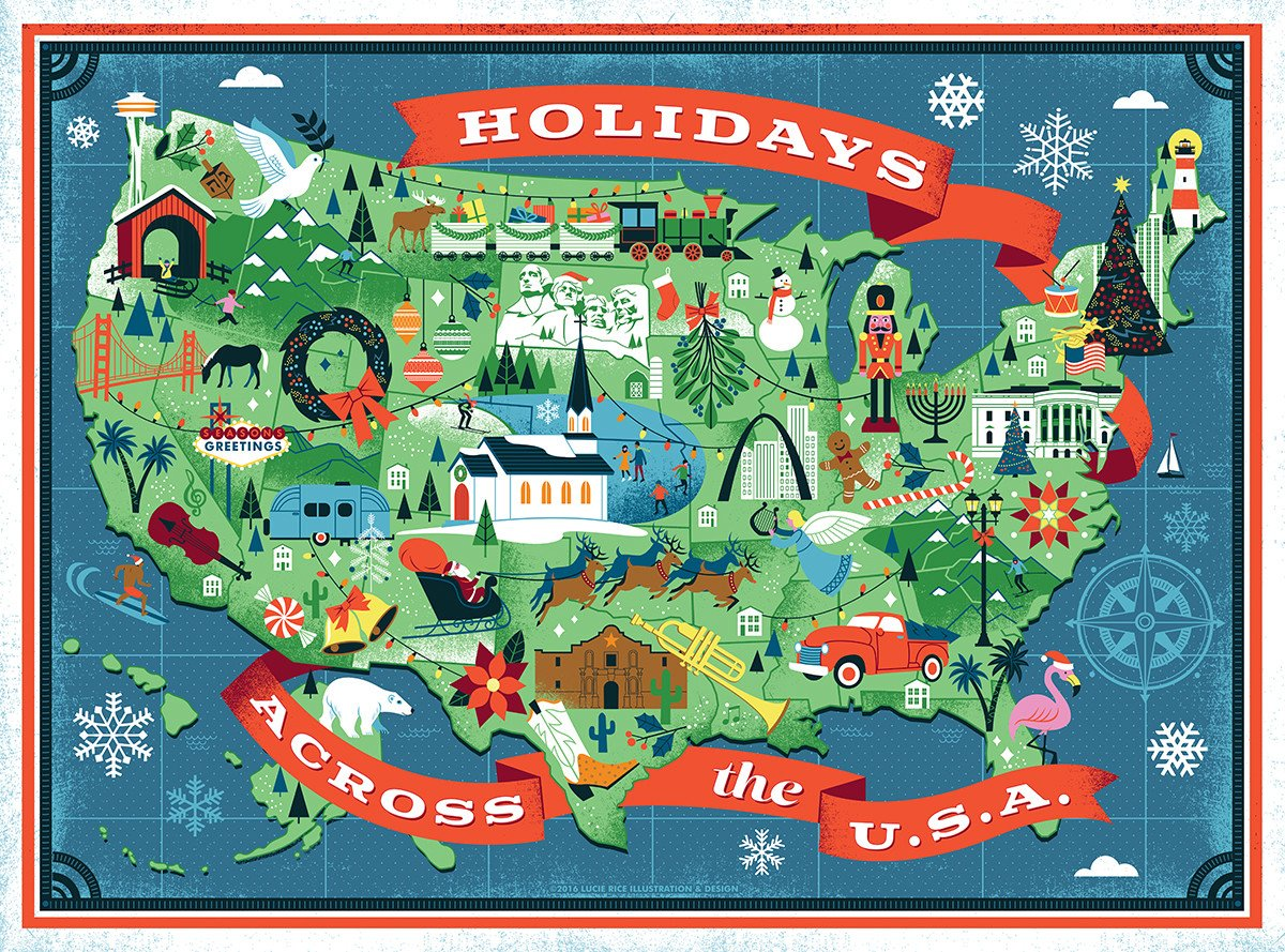 Buy Holidays Across America, 500 Piece Jigsaw Puzzle from Walking Pants Curiosities, the Most un-General Gift Store in Downtown Memphis, Tennessee!