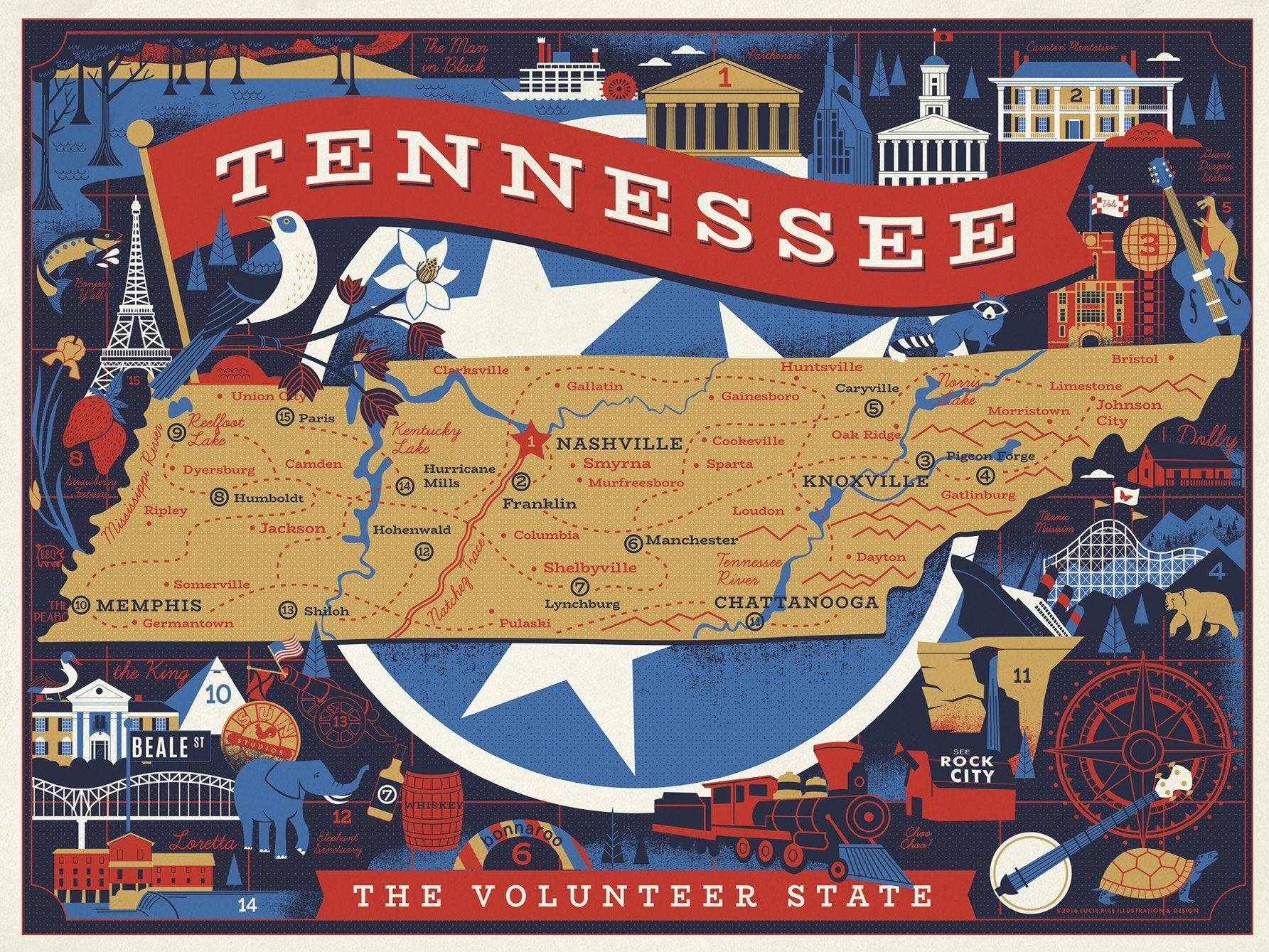 Buy Tennessee Volunteer State, 500 Piece Jigsaw Puzzle from Walking Pants Curiosities, the Most un-General Gift Store in Downtown Memphis, Tennessee!