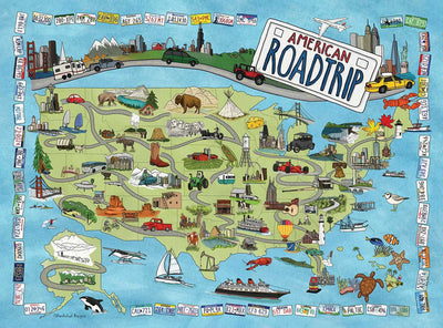 Buy American Road Trip, 500 Piece Jigsaw Puzzle from Walking Pants Curiosities, the Most un-General Gift Store in Downtown Memphis, Tennessee!
