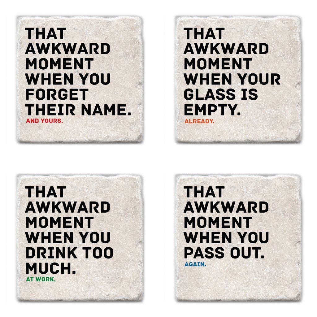 Buy Awkward Moments While Drinking - SET OF 4 COASTERS from Walking Pants Curiosities, the Most un-General Gift Store in Downtown Memphis, Tennessee!